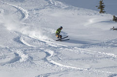 Skiing in the powder. At ski resort stock photography