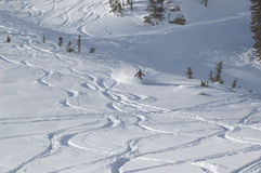 Skiing in the powder. At ski resort stock photos