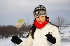 Skiing in Quebec City Royalty Free Stock Image