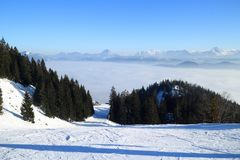 Skiing resort in the bavarian alps. In germany Royalty Free Stock Photos