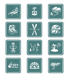 Skiing resort icons. Alpin skiing resort equipment and service icon-set Royalty Free Stock Image
