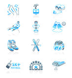 Skiing resort icons || MARINE series. Alpine skiing resort equipment and service blue-gray icon-set Royalty Free Stock Photos