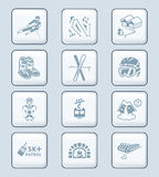Skiing resort icons || TECH series. Alpine skiing resort equipment and service icon-set Stock Photos