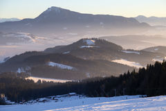 Skiing resort Kubinska Hola, Slovakia. Top view. Skiing park Kubinska Hola; Western Tatras. Slovakia. View from the ski slopes on snow covered and foggy valley royalty free stock photos