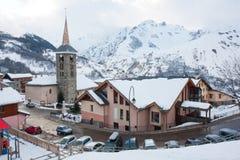 Skiing resort Saint Martin de Belleville in winter. Three valleys, 3 valleys, Tarentaise Valley, Savoie département, France royalty free stock photos