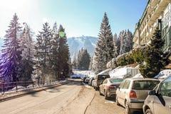 Skiing resort Semmering, Austria. Road near luxury hotel in austrian Alps. Idyllic winter wonderland mountain scenery. stock photography