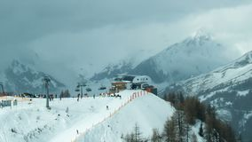 Skiing resort in time lapse stock footage