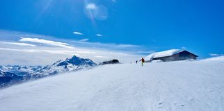 Skiing on the San Bernardo Pass near La Thuile and La Rosiere c Stock Photography