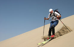 Skiing on sand dunes Stock Photography