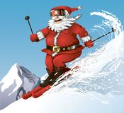 Skiing Santa. Cute cartoon Santa having his winter fun on skies in the mountains Stock Images