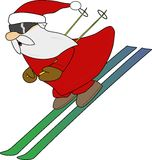 Skiing Santa stock illustration