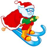 Skiing Santa Stock Photography