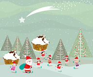 Skiing santa claus and kids on winter forest Royalty Free Stock Images