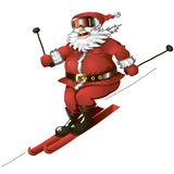 Skiing Santa isolated. Isolated cartoon illustration of cute Santa skiing Royalty Free Stock Photo