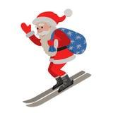 Skiing Santa isolated illustraton on white background. Vector illustration of skiing Santa isolated on white background Royalty Free Stock Photos
