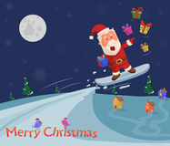 Skiing Santa at Merry Christmas holiday greeting. Card background in vector vector illustration