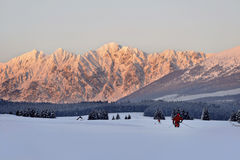 Skiing in a scenic view Stock Images