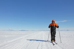 Skiing on the sea ice in Antarctica Stock Images