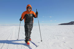 Skiing on the sea ice in Antarctica Royalty Free Stock Images