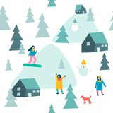 Skiing seamless pattern with people skiing and snowboarding in the snow forest in vector. royalty free illustration