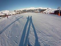 Skiing shadow Royalty Free Stock Photos