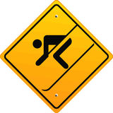 Skiing sign. Caution speed sport Stock Images