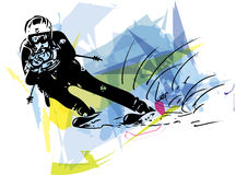 Skiing sketch illustration. Illustration of skier skiing downhill on abstract background Royalty Free Stock Photography