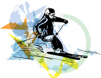 Skiing sketch illustration Royalty Free Stock Photo