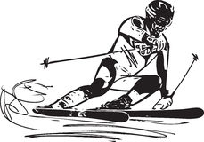 Skiing sketch illustration Royalty Free Stock Photography