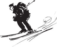 Skiing sketch illustration Stock Photo