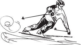 Skiing sketch illustration Royalty Free Stock Image