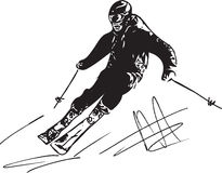 Skiing sketch illustration Stock Images
