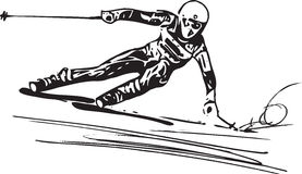 Skiing sketch illustration Royalty Free Stock Images