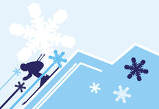 Skiing. Ski  background   in powder blue colors Royalty Free Stock Photography