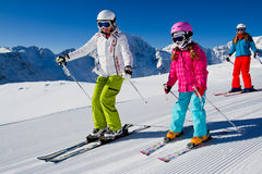 Skiing, ski lesson Stock Images