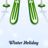 Skiing and ski poles on ice. Winter holiday Skiing and ski poles on ice Stock Photography