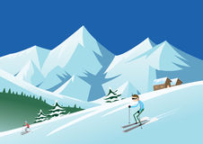 Skiing at ski resort Royalty Free Stock Images