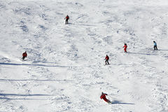 Skiing. Skier skiing downhill in snowy Austria Royalty Free Stock Images
