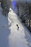 Skiing, Skier, Freeride at groomed slopes. Skiing downhill at Cannon mountain , NH Stock Image