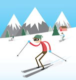 Skiing. Skiers slide from the mountain Stock Image