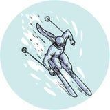 Skiing Slalom Circle Etching Stock Photography