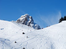 Skiing slope. Slope on the skiing resort Flumserberg. Switzerland Royalty Free Stock Photos