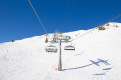 Skiing slope. Slope on the skiing resort Flumserberg. Switzerland Royalty Free Stock Photo