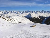 Skiing slope at skiing resort Davos, Switzerland Stock Images