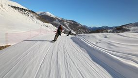 Skiing slopes in the alps stock video