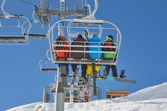 Skiing slopes from the lift Royalty Free Stock Photography