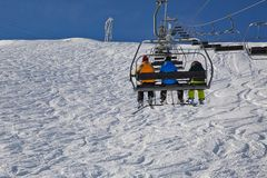 Skiing slopes from the lift Stock Photos