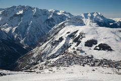 Skiing slopes, majestic Alpine landscape Royalty Free Stock Images