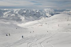 Skiing slopes, majestic Alpine landscape Stock Images