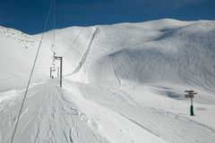 Skiing slopes sunny weather Stock Photos